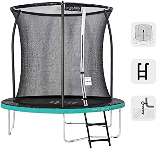 GREADEN Garden Trampoline Round Freestyle + Grün 250 Pack Medium + Skala + Anker-Set