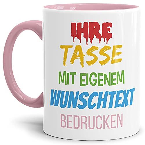 Tasse selbst gestalten/mit eigenem Text beschriften/Wunsch-Name/Spruch-Tasse/Innen & Henkel Rosa/Motiv für Rechtshänder sichtbar