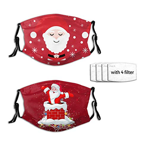 2 PCS Red Cartoon Santa Claus Christmas Print Comfortable Face Bandanas Mask Balaclava Breathable Reusable with 4 Filter for Adult Women Men & Teenage Outdoor Festival