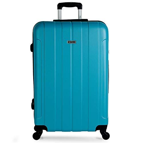 ITACA - Juego de Maletas de Viaje Ligeras 2 Pzs. Set Trolley ABS 4 Ruedas [ (Cabina + Grande) ] Rígidas y Resistentes. Equipaje Avión. Candado con Combinación 771117, Color Turquesa