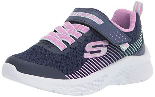 Skechers Mädchen Microspec Sneaker, Navy Mesh/Lavender & Mint Trim, 32 EU