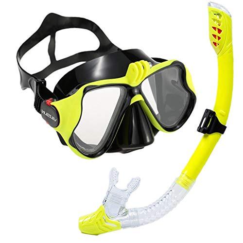 VILISUN Taucherbrille mit Schnorchel Anti-Leck Anti-Fog Schnorchelset Tauchset aus Gehärtetem Glas, ideal für Tauchen, Schnorcheln und Schwimmen, Gelb Set (Erwachsene)