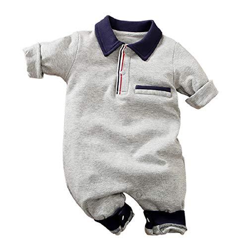 IURNXB Bebé Niño Niña Mangas Largas de Algodón Sencillas y Cómodas Mono Estilo Deportivo 0-24 Meses