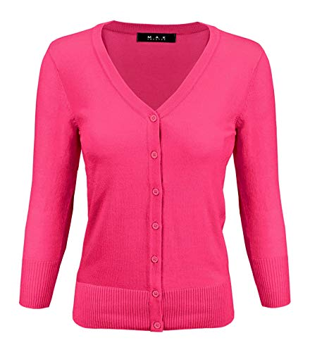 YEMAK Women's Knit Cardigan Sweater – 3/4 Sleeve V-Neck Basic Classic Casual Button Down Soft Lightweight Knitted Top CO078-MGT-S Magenta