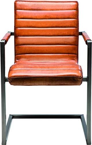 Kare Design Freischwinger Riffle Buffalo Brown, moderner Esszimmerstuhl mit Armlehne im Retro-Design, bequemer Echtlederpolsterstuhl, Braun (H/B/T) 85x55x61cm