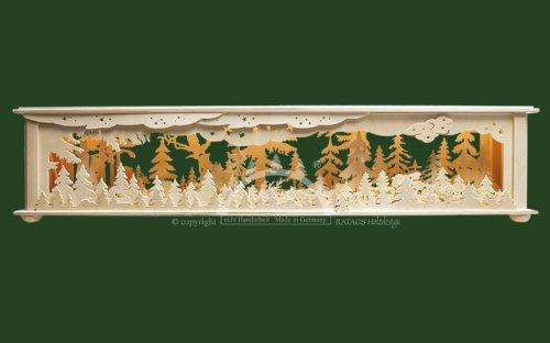 Ratags Schwibbogen-Unterbau/Raumleuchte Wald - 70x12x12cm - Original Erzgebirge Schwibbögen