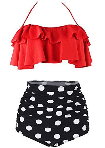 AOQUSSQOA Femme Vintage Taille Haute Volants Maillot de Bain Mignon Bikini Deux Pièces (Red, S)