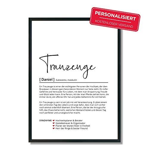 Trauzeuge Definition | Personalisiertes Poster | Geschenk | Hochzeit | Ehe | Geburtstagsgeschenk | Danke | Wörterbuch | Skandinavisch
