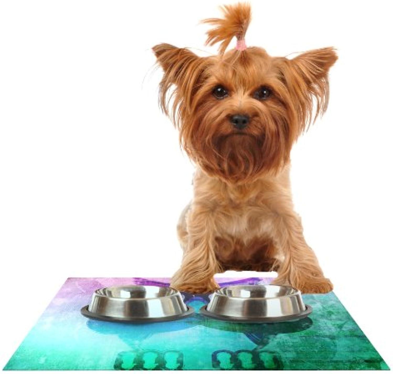KESS InHouse iRuz33 Showly Teal  Feeding Mat for Pet Bowl, 18 by 13Inch