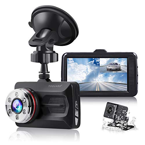 """TOGUARD® Dual Dash Cam Full HD 1080P 170°Wide Angel 3.0"""" Front and Rear Car Camera Video Recorder with Night Vision WDR G-Sensor Parking Monitor Loop Recording Motion Detection"""