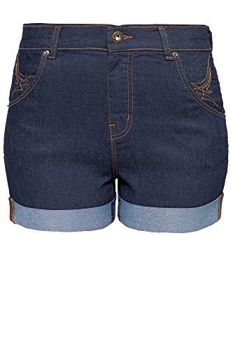 Queen Kerosin Queen Pantalones Cortos, Azul Oscuro, XXL para Mujer