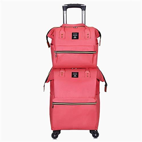 fosa1 Hand Luggage Trolley case Oxford Cloth Trolley Bag Set, Stylish Shoulder Bag Portable Lightweight Shoulder Bag (Color : Pink)