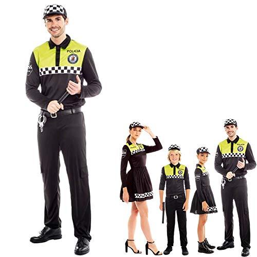 Disfraz Polica Local Hombre Uniforme con Gorra CheckersTallas Adultos de S a L[Talla M] Disfraz Carnaval Hombre Profesiones Uniforme con Gorra Polica Desfiles Teatro Actuaciones Regalo