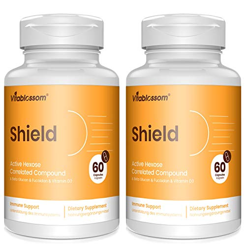 Active Hexose Correlated Compound Supplements | 500mg per Capsule | Enhanced Immune Support, Beta Glucan & Fucoidan & Vitamin D3, Liver Function, Maintains Natural Killer Cell Activity