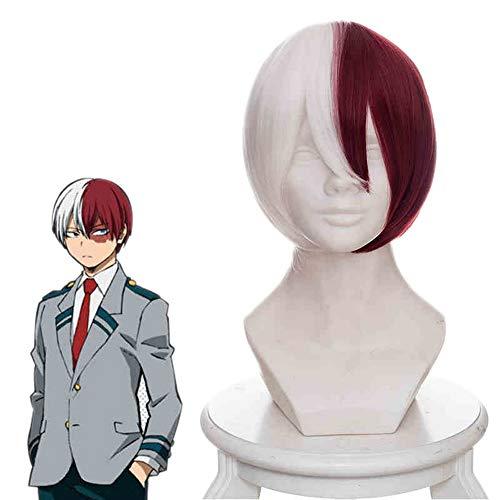 COJETER Anime Todoroki Shouto Perruque courte rouge et blanche de 54 cm avec une frange moelleuse Curling Hair Perruque de maquillage Cosplay légèrement vers l'intérieur