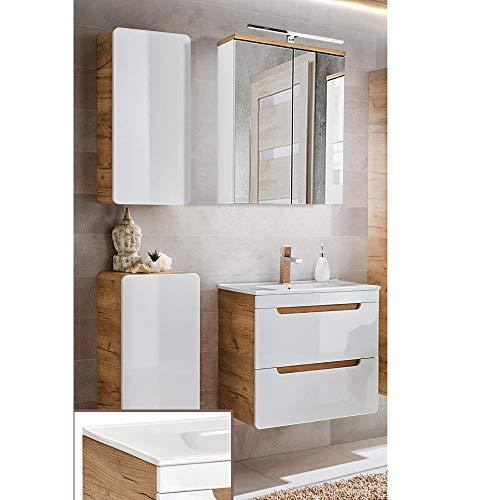 Lomadox Badezimmermöbel Set in Hochglanz weiß mit Wotaneiche, 60cm Keramik-Waschtisch mit Unterschrank, LED-Spiegelschrank, Unterschrank & Hängeschrank