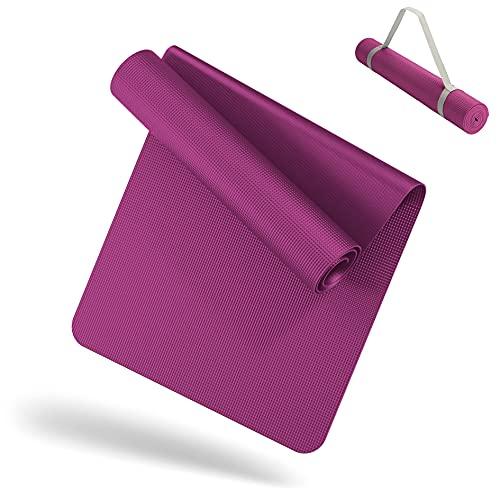 LILENO SPORTS Yoga Matte Pink (180x60cm) inkl. Tragegurt - Sport und Yogamatte extra rutschfest in 4 mm Dicke - Gymnastikmatte und Fitnessmatte für Workout und Yoga - Sportmatte für Zuhause