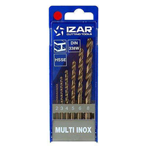 Izar 34204 Juego Broca Universal Cobalto Multi Inox, 1021, DIN338, 2-3-4-5-6-8 mm Diámetro Corte