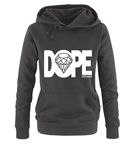 dope diamond - Deluxe - Einfarbig Damen Hoodie Schwarz/Weiss Gr. L