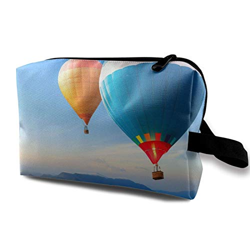 XCNGG Travel Makeup Storage Bag- Portable Toiletry Handbag Small Cosmetic Organizer Pouch for Women & Men- Beautiful Hot Air Balloon