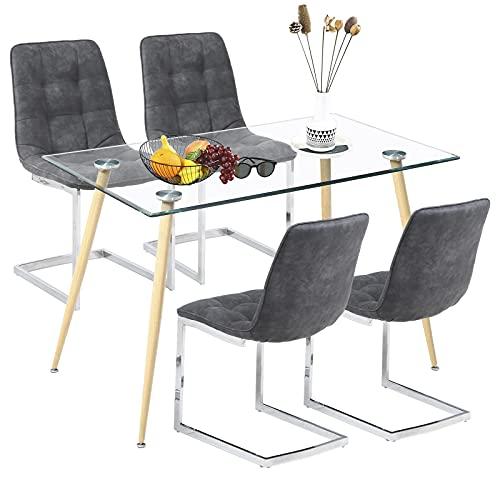 Tavolo da pranzo con 4 sedie in vetro SHEEPPING tavolo da cucina con sedie, colore: grigio