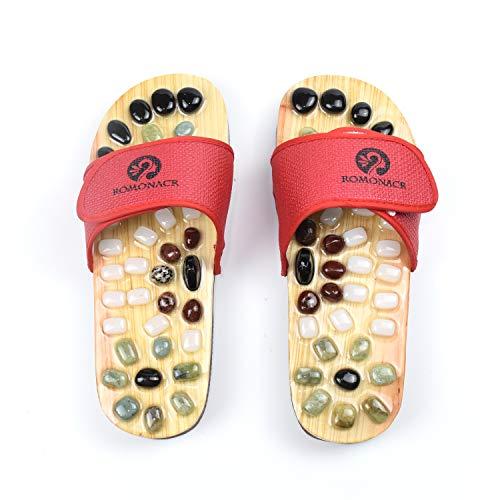 Romonacr Massage Slippers Foot Massager Shoes Shiatsu Relax Sandals with Natural Cobblestone Stones Red- XL(Women 8.5/Men 7.5)