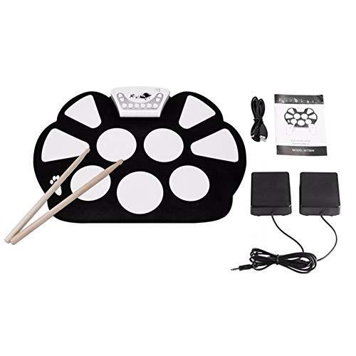 SISHUINIANHUA Tragbare 9 Pads Digital USB Rollen Oben Faltbare Silikon-E-Drum-Pad-Kit mit Trommel-Sticks Fußpedale