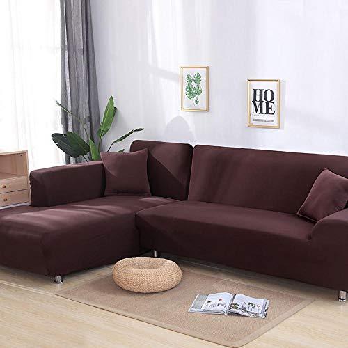 Copridivano, copridivano elastico, elegante e morbida fodera per poltrona a forma di L per soggiorno, fodera protettiva completa,coffee,3-seater,190-230cm