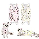 olyee 2 Stücke E-Halsband Alternative für Katzen Bauchwunden nach Operationen Genesungsanzug Kätzchen Anti-Lecking Physiologische Kleidung, Wundschutzanzüge Wiederherstellung Baumwolle(L)