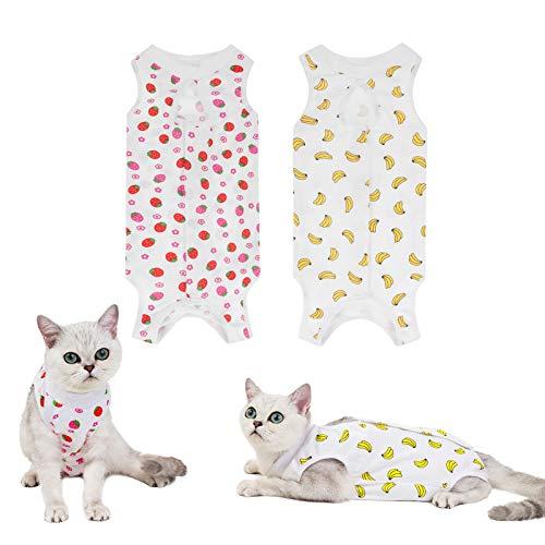 olyee 2 Stücke E-Halsband Alternative für Katzen Bauchwunden nach Operationen Genesungsanzug Kätzchen Anti-Lecking Physiologische Kleidung, Wundschutzanzüge Wiederherstellung Baumwolle(M)