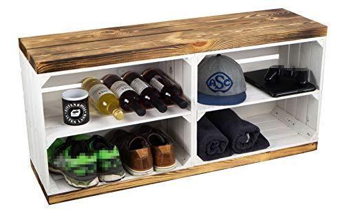 Schuhregal mit Sitzbank aus Obstkisten und massiven Holzplanken Schuhablage Schuhkommode Schuhbank aus Holz Maße 100 x 29 x 45cm L x T x H (Sitzbank weiss flam Planke Brett weiss)