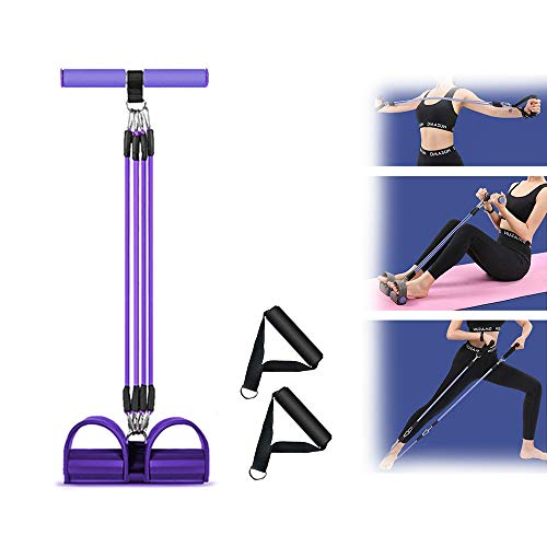 Quupero 4-Tube Pedal Resistance Band for Exercise, Elastic Sit Up Pull Rope, Stackable Resistance Band Kit with Handles for Abdomen, Waist, Arm, Yoga Stretching