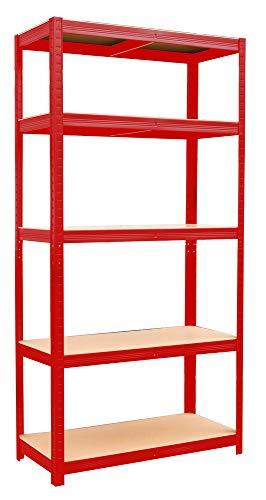 VERDELOOK Scaffale in metallo con 5 ripiani rosso 90x40x180cm salvaspazio garage fai da te