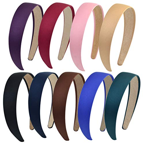 HOVEOX 9 Pieces Hard Headbands 1 Inch Wide Non-slip Ribbon Hairband for Women Girl Mixed Colors