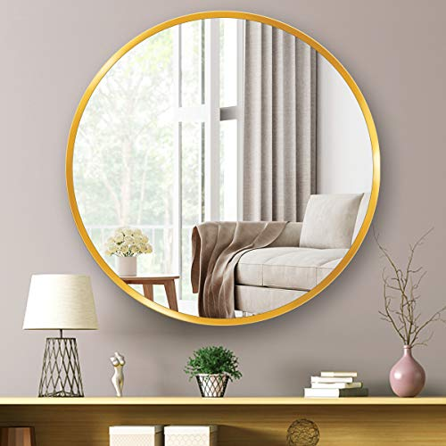 MINKUROW Espejo Redondo de Pared 60 CM, Gran Espejo de Maquillaje con Marco de Metal Dorado para Dormitorio Baño Sala de Estar y Decoración del Hogar Fácil Montaje