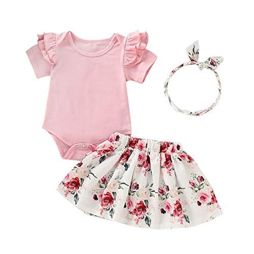 Allence 3pcs Neugeborenes Baby Mädchen Rosa Outfits Set Kleidung Set Stricken Fliegender Ärmel Romper Overalls Blumenhose Rock Süßer Kopfschmuck