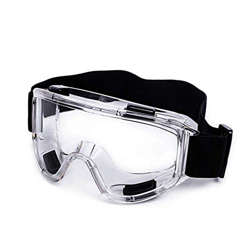 Safety Goggles Transparent Glasses Scratch Impact Resistant Fully Enclosed Safety Goggle, Clear Anti-Fog Anti-Dust Anti-UV Lens - Soft Lightweight Eyewear Adjustable Headband for Full Eye Protection