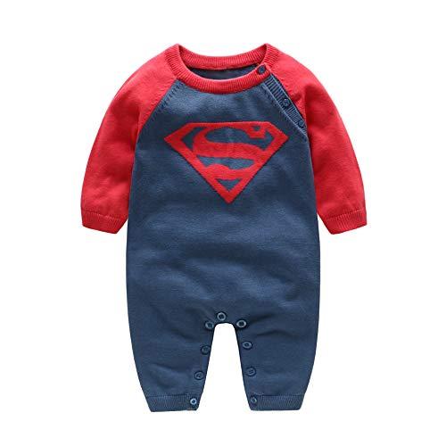 MMYYIP Bébé Teddy Automne et Hiver vêtements pour Enfants Enfant mâle Bande dessinée Superman Pull Tricot Salopette,A