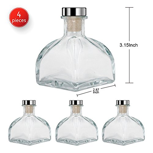 "Feel Fragrance Glass Diffuser Bottles with Cork Lid Cover, Set of 4-3.5"" High,150ml 5.1 oz. Fragrance Accessories Use for Diy Reed DIffuser sets (Not included diffuser sticks)"