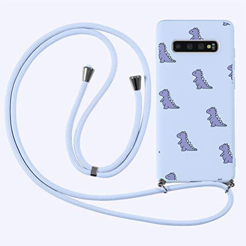 Yoedge Funda con Cuerda para Samsung Galaxy A21s (4G) 6,5 ,Púrpura Claro TPU Silicona Mate Dibujos Animados Case con Colgante Ajustable Correa de Cordón Cárcasa para Samsung A21s (4G),Cocodrilo