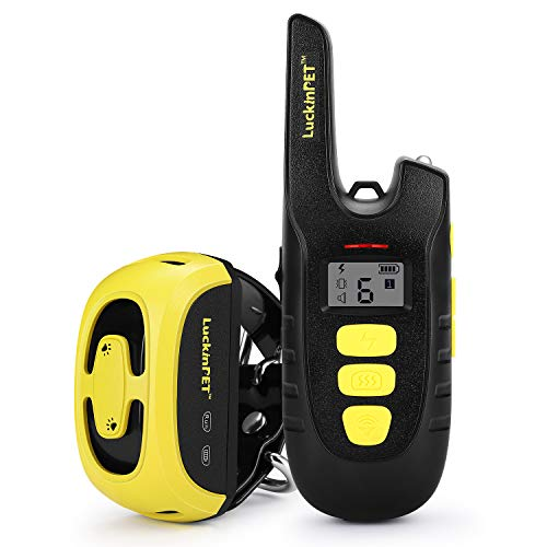 LuckinPET Rechargeable Dog Training Collar, Shock Collar for Dogs with Remote Control 1600ft Range, 100% IPX7 Waterproof Beep, Shock, Vibrate Modes Control Collar