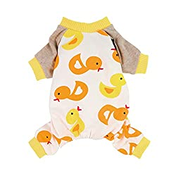 Easter Outfits For Dogs - Yellow Duck cotton pajamas for dogs.