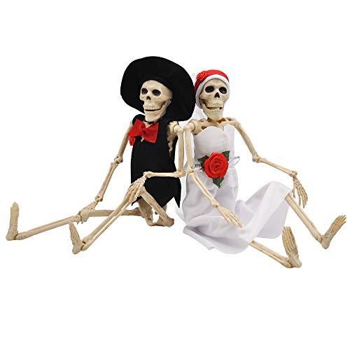 Esqueletos de Halloween (40,6 cm), diseño realista y espeluznante, cuerpo completo, decoración de Halloween, 2 unidad