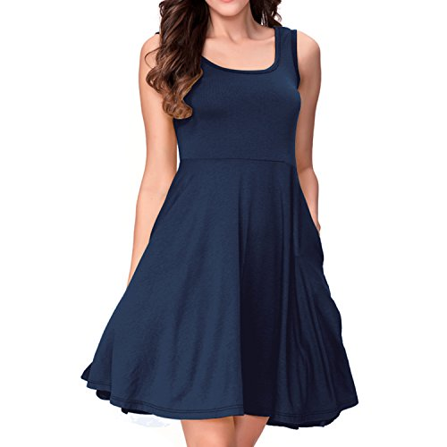 One Sight Women's Scoop Neck Tank Dress with Pockets Sleeveless Casual Loose Midi Flared Summer Dress