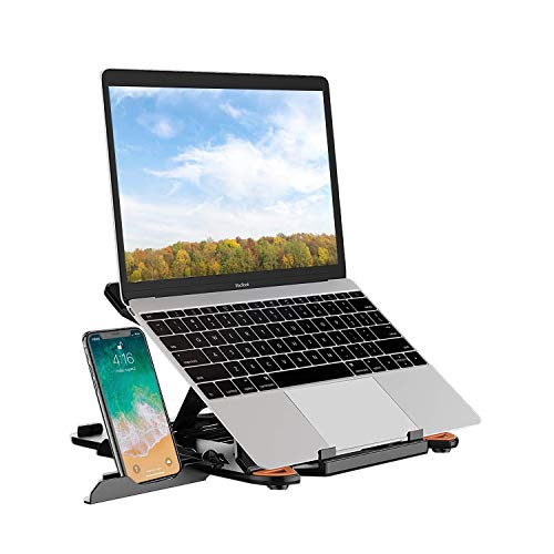 SEA or STAR Adjustable Laptop Stand Computer Stand with Phone Holder Compatible with MacBook Air Pro, Dell XPS, HP, Lenovo More 10-15.6'' Laptop (Black)