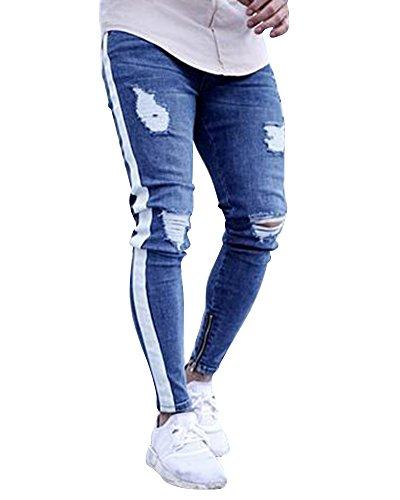 ShiFan Herren Enge Jeans Hose Stretch Jeanshose Mit Löchern Am Knie Hellblau XL