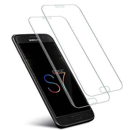 wsiiroon 2 protectores de pantalla de cristal blindado compatible con Samsung Galaxy S7 Edge, dureza 9H, antiaceite, protector de pantalla HD, antiarañazos, antiburbujas para Samsung S7 Edge