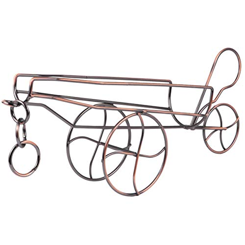 Vosarea Casier à Vin Fer Art Chariot Forme Porte-Bouteille de Vin Stand pour Armoire Comptoir