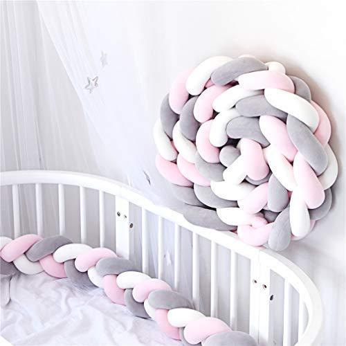 Bettumrandung Stoßstange Baby Nestchen Weben Bettumrandung Kantenschutz Kopfschutz 2m/3m (Weiß + Grau + Rosa,3M)