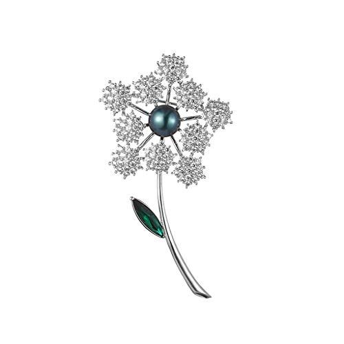 Broches Broche de Mujeres Dama Elegante Pin Ramillete de Cristal de los Granos Negros de Platino de Oro Esposa Regalo for Las Fiestas Broche Pin Colgante